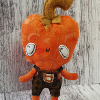 Pumpkin Head Miniature Doll In Dungarees