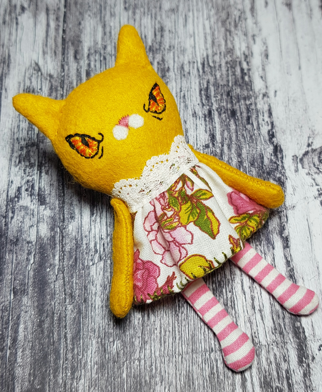Handmade Miniature Cat Doll Yellow