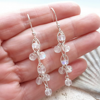 Faceted Moonstone and Sterling Silver Waterfall Earrings