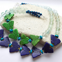 Howlite Butterfly and Fluorite Statement Necklace