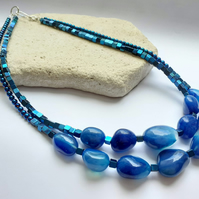 Geometric Hematite and Chalcedony Statement necklace