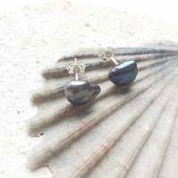 Peacock Keshi Pearl Studs with Sterling Silver Posts