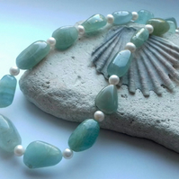 Amazonite and Freshwater Pearl Necklace with Sterling Silver Clasp