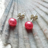 6mm Strawberry Pink Freshwater Pearl Studs with Sterling Silver Posts.