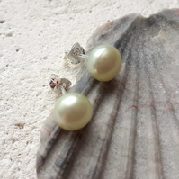 6-7mm Pale Lime Freshwater Pearl Studs with Sterling Silver Posts
