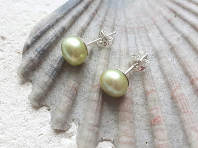 7-8mm Pale Lime Studs with Sterling Silver