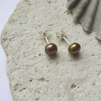 6-6.5mm Bronze Gold Freshwater Pearl Studs