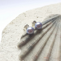 6-6.6mm Peacock Lilac Grey Freshwater Pearl Studs with Sterling Silver