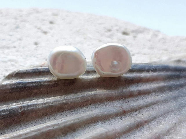 Little Keshi White Pearl Studs with Sterling Silver (6-8mm)