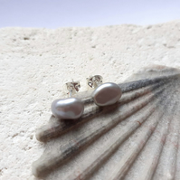 Little Grey Keshi Pearl Studs with sterling silver (6-8mm)