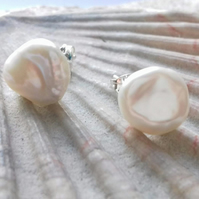 White Baroque Keshi Pearl Studs with Sterling Silver (10-12mm).