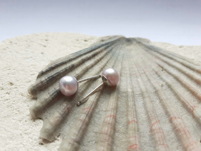 7-8mm Shell Pink Freshwater Pearl Studs
