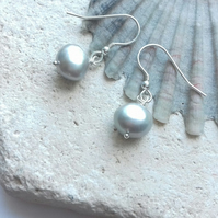 Grey Freshwater Pearl Dangle Earrings