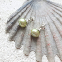 5.5-6mm Lime Freshwater Pearl Studs with Sterling Silver