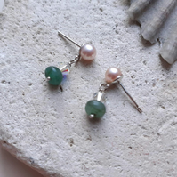 Freshwater Pearl and Emerald Dangle Stud Earrings with Sterling Silver