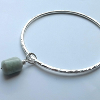 Textured Silver Bangle with an Aquamarine Dangle Stone