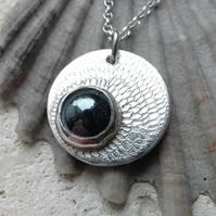Hand Engraved Sterling Silver Pendant with Onyx Stone
