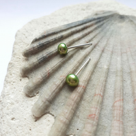 Lime Green Freshwater Pearl Studs - 4.5-5mm