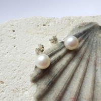 Top-Notch Classic White Freshwater Pearl Stud Earrings with Sterling Silver
