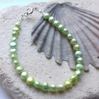 Pale Green Freshwater Pearl Bracelet with Sterling Silver Clasp