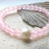 Rose Quartz 6mm Beaded Bracelet with Freshwater Pearl Accent