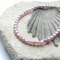 Pink Freshwater Pearl Bracelet with Sterling Silver Clasp