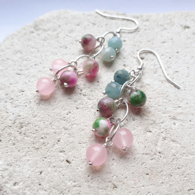 Amazonite, Jade and Rose Quartz Waterfall Earrings with Sterling Silver