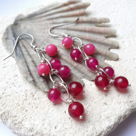 Bright Pink Jade and Quartz Navette Waterfall Earrings with Sterling Silver