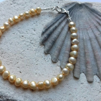 Yellow Freshwater Pearl Bracelet with Sterling Silver Clasp