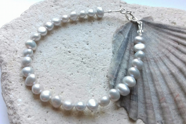 Pale Grey Freshwater Pearl Bracelet with Sterling Silver Clasp