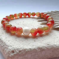 Watermelon Tourmaline and Freshwater Pearl Elastic Beaded Bracelet