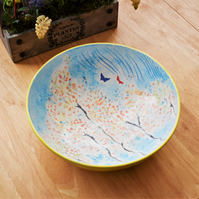 Hand painted pottery bowl with Butterflies