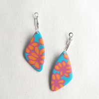 Polymer clay statement earrings, Bright summer jewellery, Floral hoops