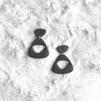 Black pebble hoops, Polymer clay earrings,  Retro dangles, Contemporary earring
