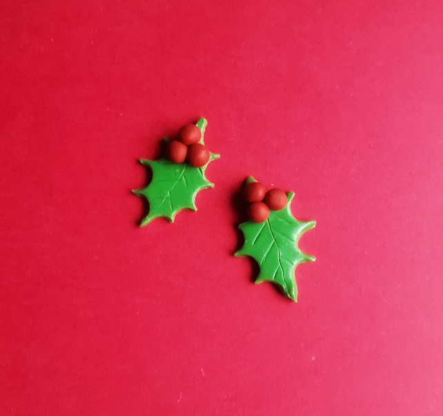 Holly studs, Polymer clay earrings, Christmas stocking filler