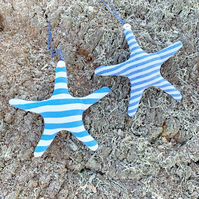 STARFISH - blue and white stripes, lavender