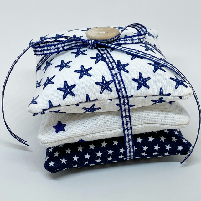 LAVENDER SACHET BUNDLE - blue and white stars
