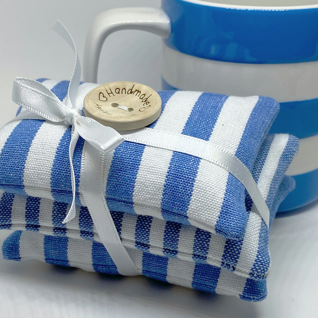 LAVENDER SACHET BUNDLE - blue and white stripes