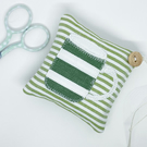 STRIPEY MUG LAVENDER BAG - green and white stripes