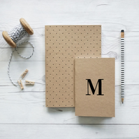 Monogram, handcrafted set of two notebooks