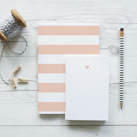 Blush Heart and Stripes, handcrafted set of two notebooks