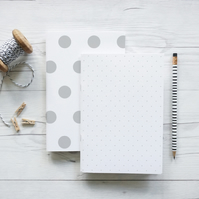 Polka Dot, handcrafted set of two notebooks