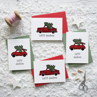 Happy Christmas, vintage red car and truck, hand lettered Christmas card set