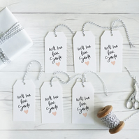 With Love from Santa, hand lettered luxury Christmas gift tags