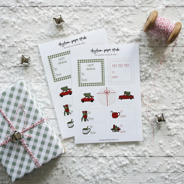 Farmhouse Red & Green Christmas Pattern, illustrated gift tag stickers