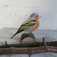 A Chaffinch On a Log Fused Glass Ornament, Bird Lovers Gift