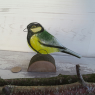 Fused Glass Standing Great Tit Ornament