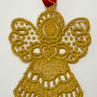 Gold Lace Angel decoration on ribbon to hang for Christmas