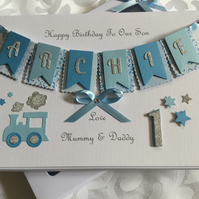 Personalised Handmade 1st Birthday Card Son Grandson 1st Gift Boxed Any Age