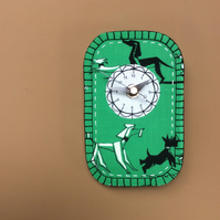 Retro dog fabric 'poodle' green clock